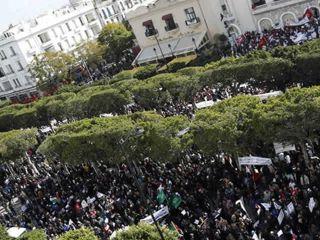 Demonstran meneriakkan slogan dan mengibarkan bendera ketika demonstrasi untuk mendukung partai berkuasa Ennahda di Tunis, 16 Februar 2013. (REUTERS/Zoubeir Souissi)