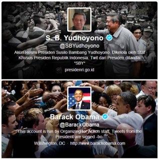 Halaman profil Twitter SBY dan Barack Obama. (Twitter)