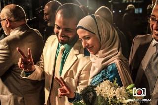 Pasangan pengantin Mesir di lapangan Rab'ah 'Adawiyah (facebook)