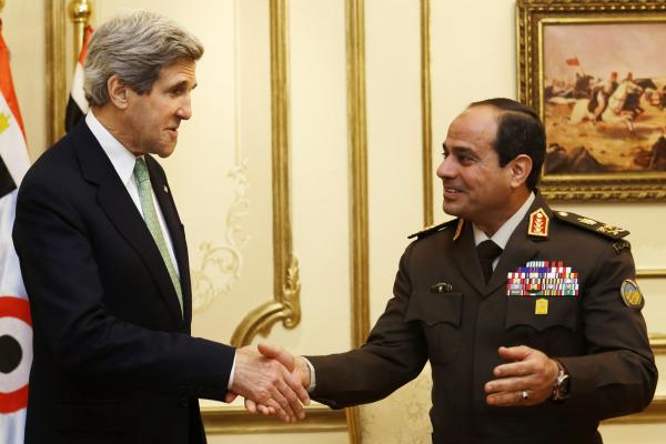 Foto pertemuan antara As-Sisi dan Kerry bulan Maret yang dipakai untuk pertemuan yang sama bulan November (gate.ahram)