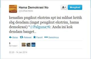 Cuplikan Twitter Didik J Rachbini tentang pengikut ekstrem Jokowi yang disebut sebagai hama demokrasi. (Twitter/DJRachbini)