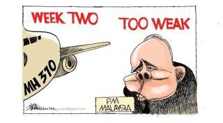 Karikatur karya Zunar yang dinilai menghina upaya pencarian pesawat MH 370 - Foto:  the Washington Post