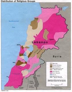 Peta Libanon sesuai dengan agama dan etnik yang ada (herro.com)