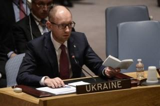 Perdana menteri Ukraina yang baru, Arseniy Yatsenyuk, di Dewan Keamanan PBB (vosizneias.com)