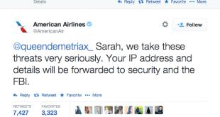 Tweet yang bernada ancaman terhadap American Airlines (hackforums)