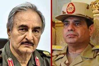 Tokoh kudeta Libya dan Mesir, Khalifah Haftar dan Abdul Fatah As-Sisi (elshaab)