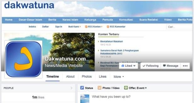 Cuplikan Facebook Fans Page dakwatuna, Rabu (28/5/2014). (dakwatuna/hdn)