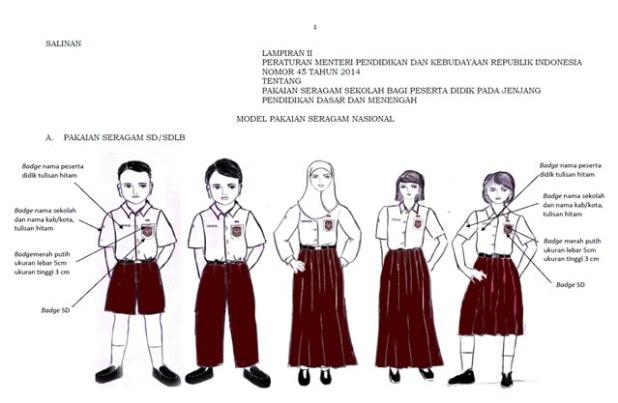 Model Pakaian Seragam Nasional berdasarkan Permendikbud No. 45 Tahun 2014 tentang Pakaian Seragam Sekolah bagi Peserta Didik Jenjang Pendidikan Dasar dan Menengah. (dakwatuna/hdn)