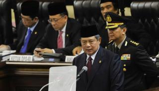 Presiden SBY saat menyampaikan pidato kenegaraan di Gedung DPR/MPR, Senayan, Jakarta, Jumat (15/8/2014). (viva.co.id)