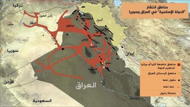 Peta penyebaran ISIS di Irak dan Suriah. (Aljazeera)