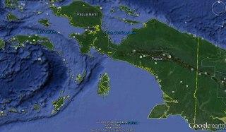 Ilustrasi - Peta Provinsi Papua Barat dan Provinsi Papua. (Google Earth)