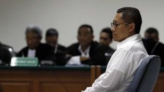 Mantan Ketua Umum Partai Demokrat, Anas Urbaningrum dalam sidang Dugaan Korupsi Kasus Hambalang.  (beresnews.com)