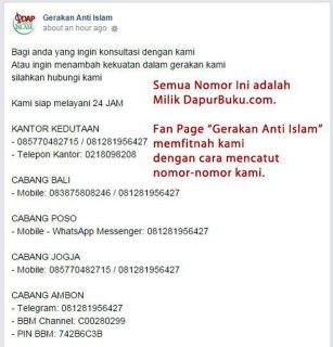 """Cuplikan klarifikasi DapurBuku.com tentang pencatutan nomor telepon mereka oleh Fans Page """"Gerakan Anti Islam"""" di Facebook, Jum'at (17/10/2014). (dakwatuna/hdn)"""