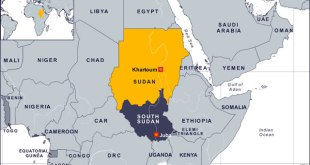 Ilustrasi - Peta Sudan dan Sudan Selatan. (voanews.com)