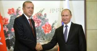 Presiden Turki Recep Tayyip Erdogan bertemua Presiden Rusia Vladmir Putin. (alresalah.ps)