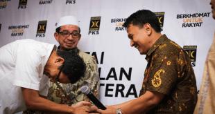 Ketua Majelis Syuro PKS, Salim Segaf Aljufrie (belakang), Sandiaga Shalahudin Uni (kiri), dan Mardani Ali Sera (kanan). (IST)