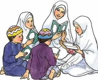 Ilustrasi - Muslimah didik anak (photobucket.com - Dianputeri)
