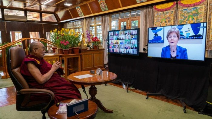 Diana Chapman Walsh, moderator of the Conversation on the Crisis of Climate Feedback Loops introducing the program as His Holiness the Dalai Lama watches at his residence in Dharamsala, HP, India on January 10, 2021. Photo by Ven Tenzin Jamphel