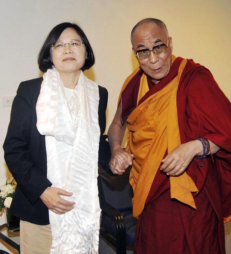 Taiwanese President Tsai Ing-Wen with His Holiness the 14th Dalai Lama ...