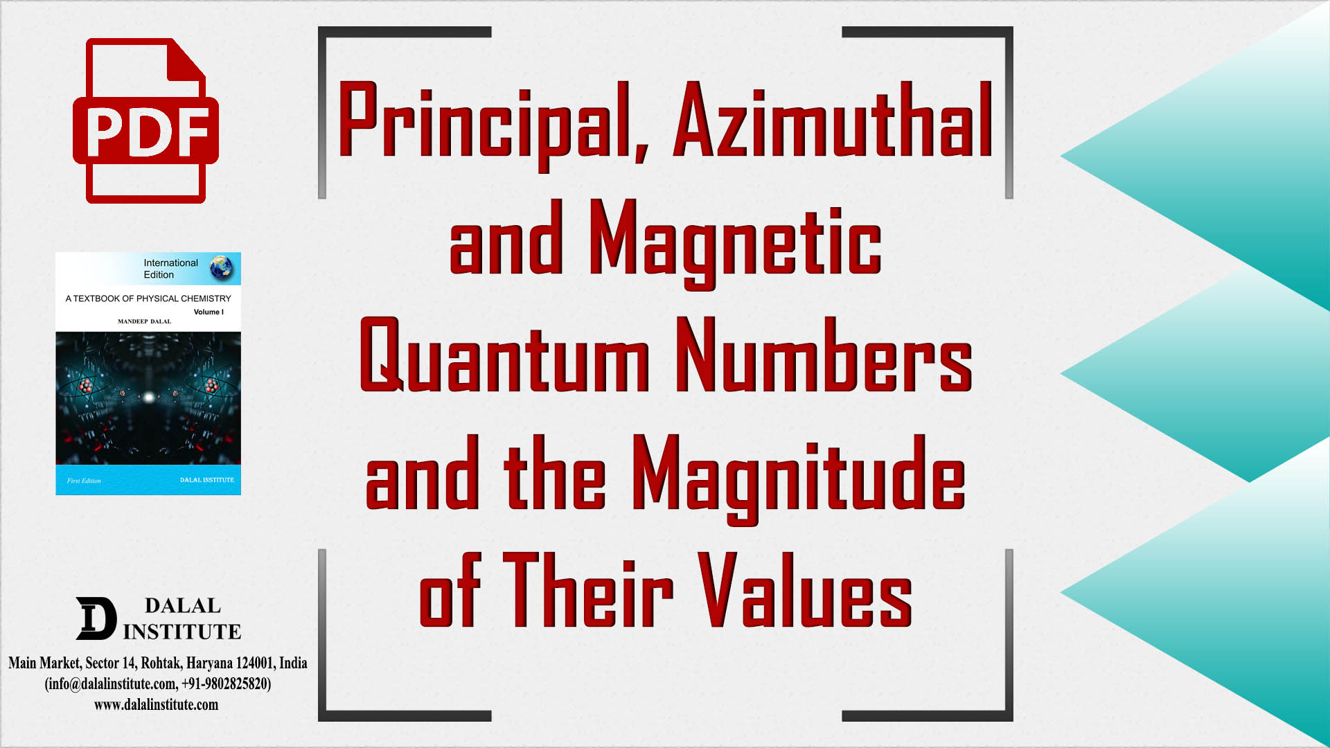 Principal Azimuthal And Magnetic Quantum Numbers And The