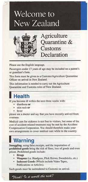 New Zealand Customs Declaration Form