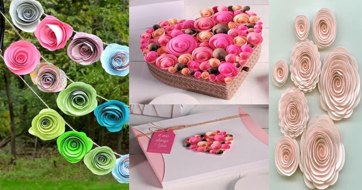 Flores de papel a partir de una espiral dale detalles - Www como hacer flores com ...