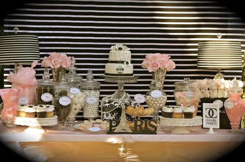 una decoracin de lo ms elegante combinada en blanco negro y unos toques en rosa o dorado el tema de esta fiesta de cumpleaos est inspirado en coco