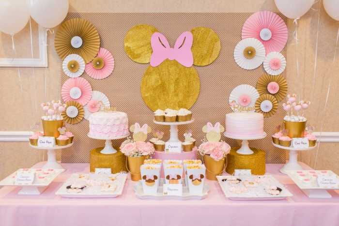 Decoracion Minnie Gold ~   de minnie en dorado y rosa Minnie Mouse minnie mouse en oro y rosa