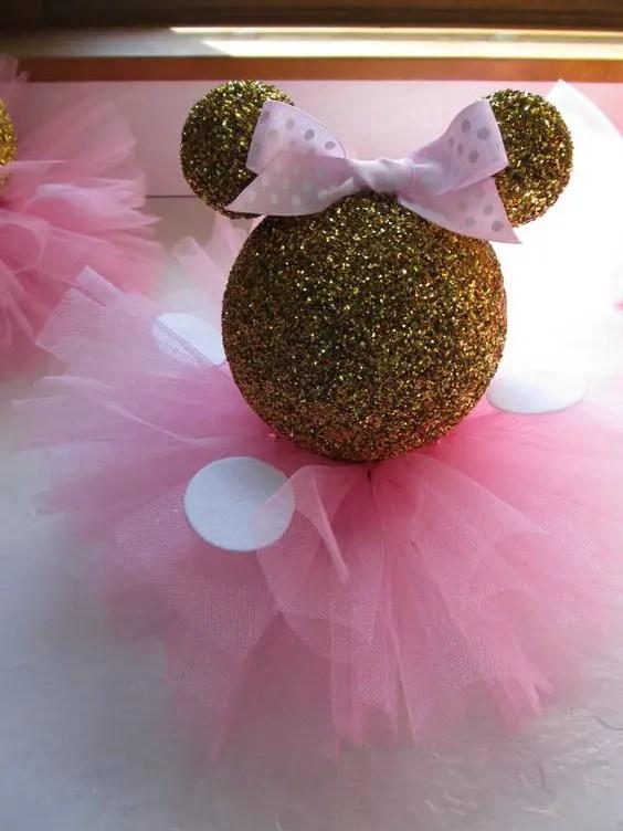 Mesa De Pastel Para Baby Shower.Minnie Mouse En Dorado Y Rosa Dale Detalles