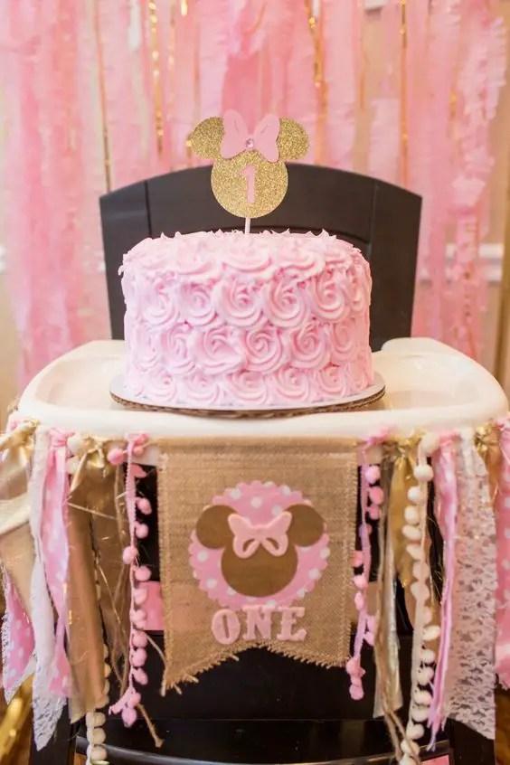 Minnie mouse en dorado y rosa Dale Detalles