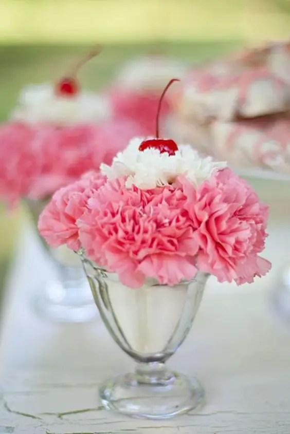 fiesta del helado con claveles