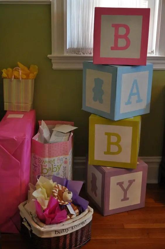 Baby Shower con tema de Bloques o cubos de beb Dale