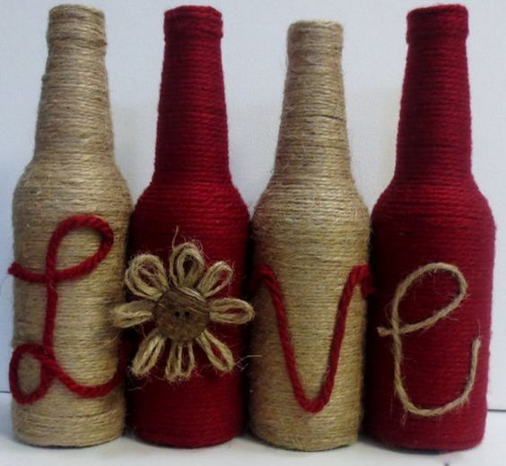 Decora botellas con hilo r stico y yute dale detalles for Christmas craft shows in delaware