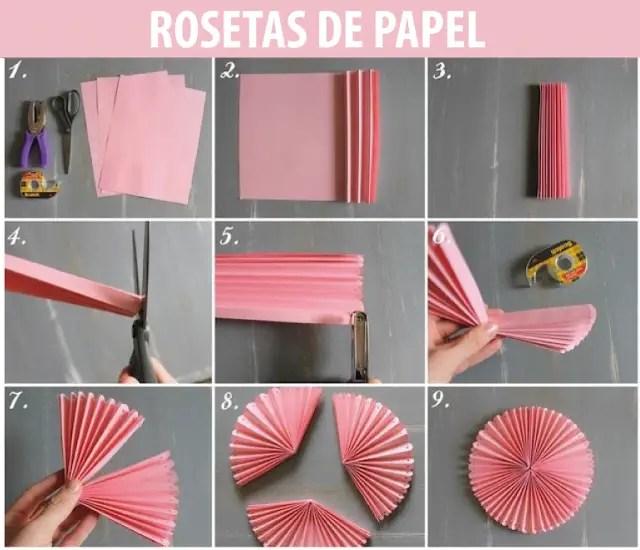 Rosetones de papel para decorar tu fiesta dale detalles - Lamparas con goma eva ...