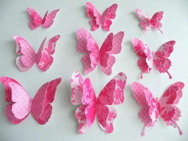 Decoraciones con mariposas de papel dale detalles - Como hacer mariposas de papel para decorar paredes ...