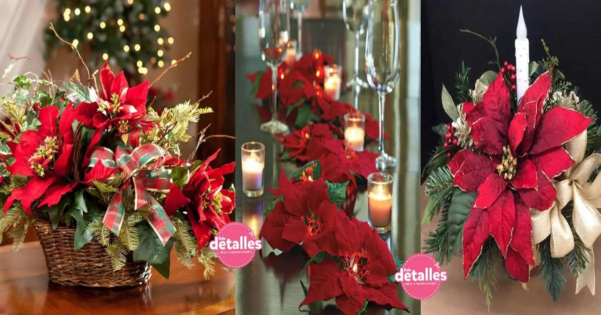 Espectaculares centros de mesa con flor de nochebuena o - Centros de mesa de pascua ...
