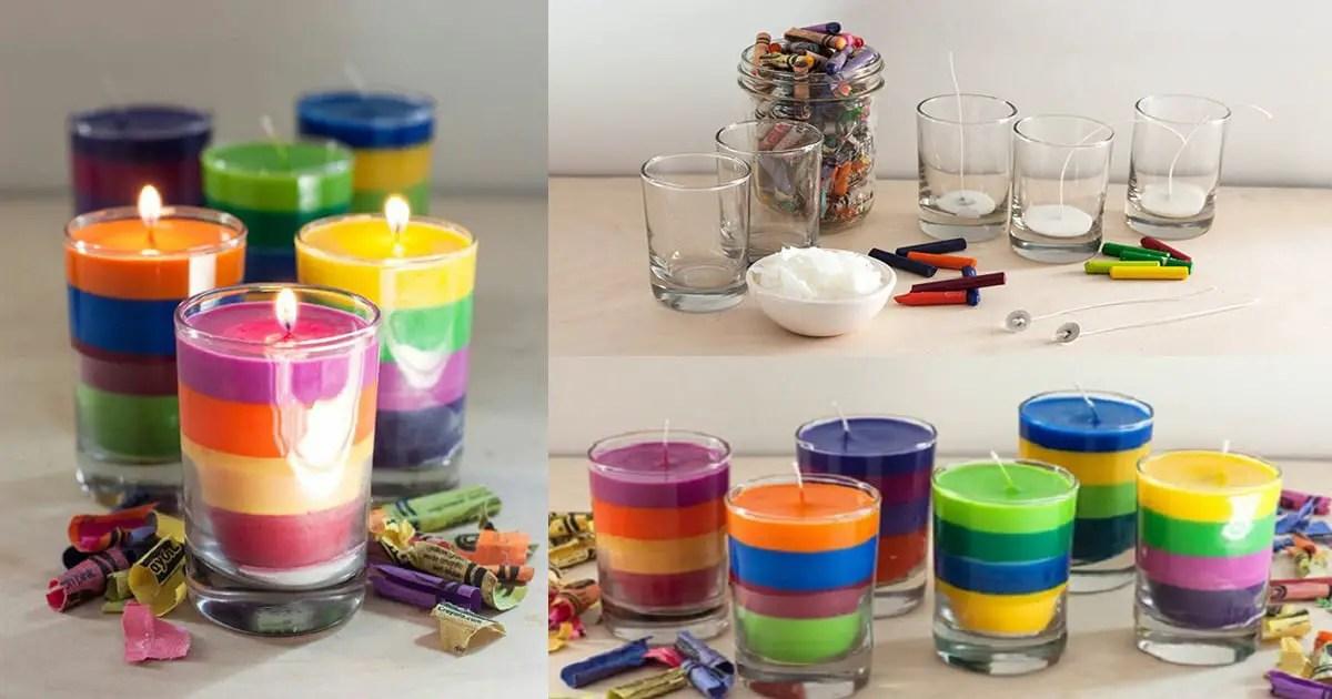 Velas decorativas multicolores con sobrantes de crayones for Como hacer velas decorativas