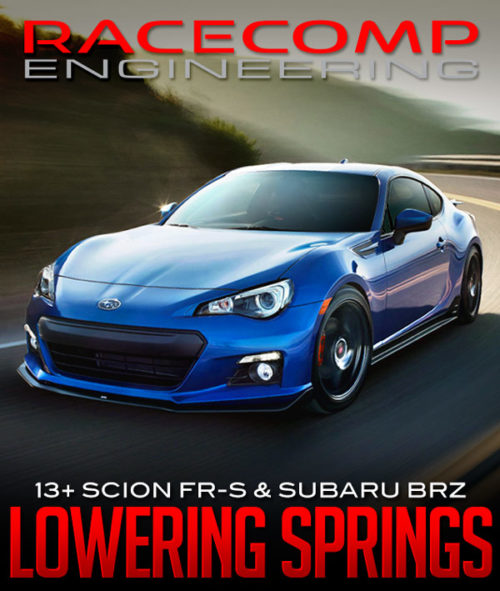 RACECOMP ENGINEERING PERFORMANCE LOWERING SPRINGS: 2013+ SCION FR-S & SUBARU BRZ