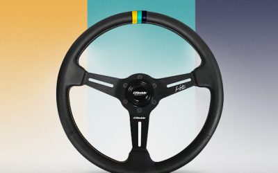 GREDDY X KEN GUSHI BLACK LEATHER STEERING WHEEL