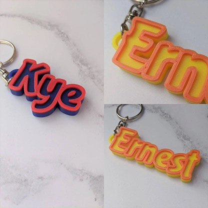 Personalised keyring in 2 colours