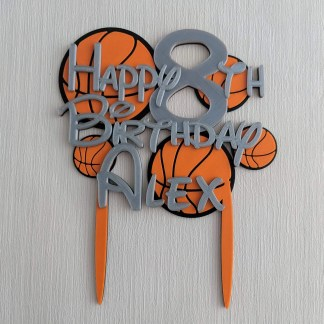 basketball themed birthday cake topper in silver