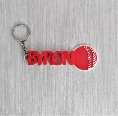 Personalised Cricket bookmark in red