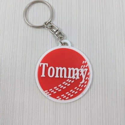 Cricket keyring in red and white