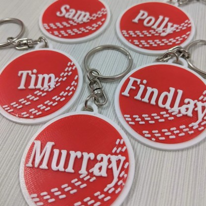 Cricket keyrings in red and white