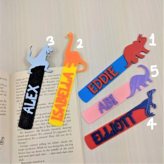 Dinosaur book marks in various colours and 5 designs