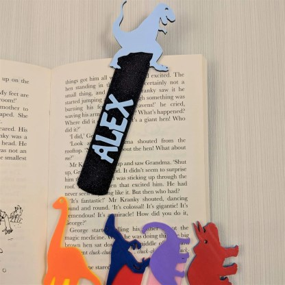 Dinosaur Bookmark 3 in Black and Blue