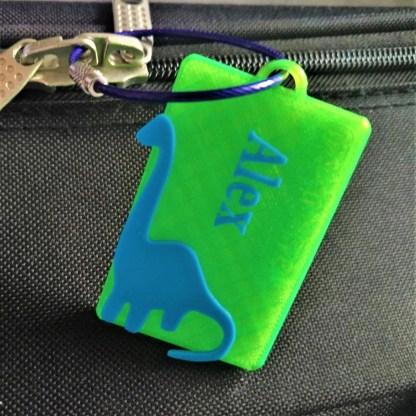 personalised luggage tag - dinosaur