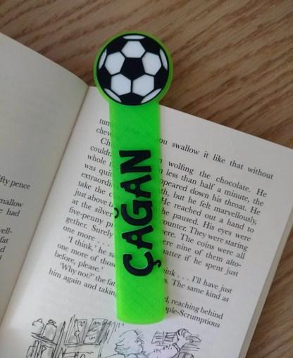 Personalised football bookmark in green
