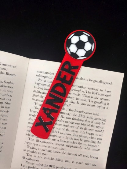 Personalised football bookmark in red