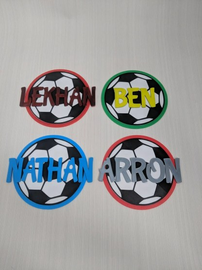 Personalised football door signs in various colours